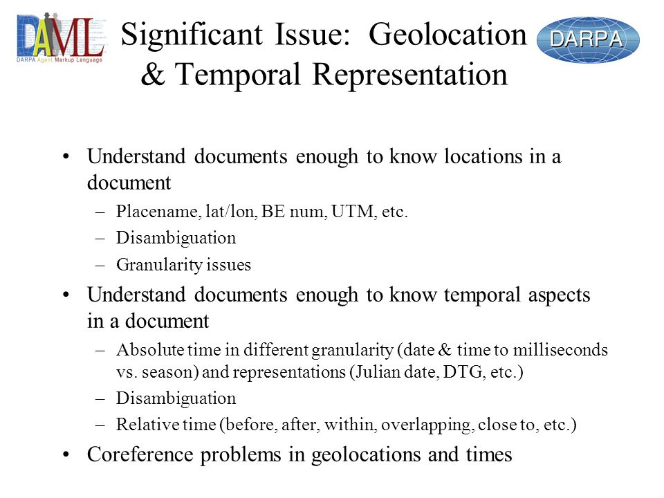 Significant Issue: Geolocation & Temporal Representation