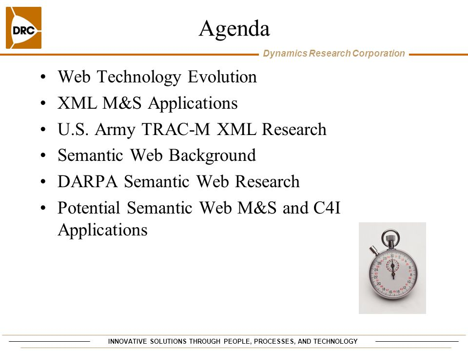 Agenda Web Technology Evolution XML M&S Applications