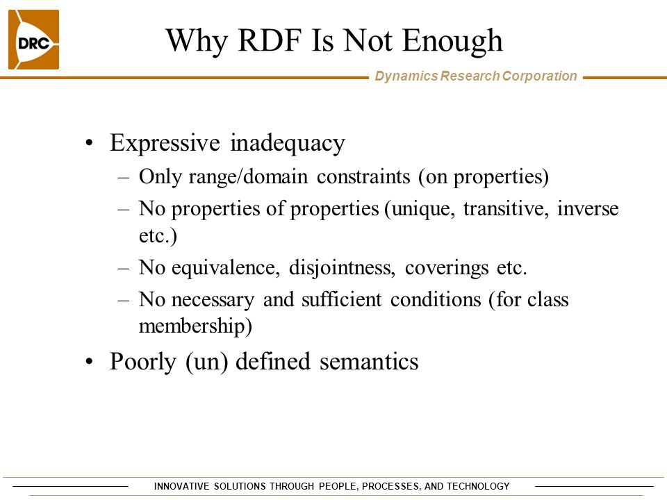 Why RDF Is Not Enough Expressive inadequacy