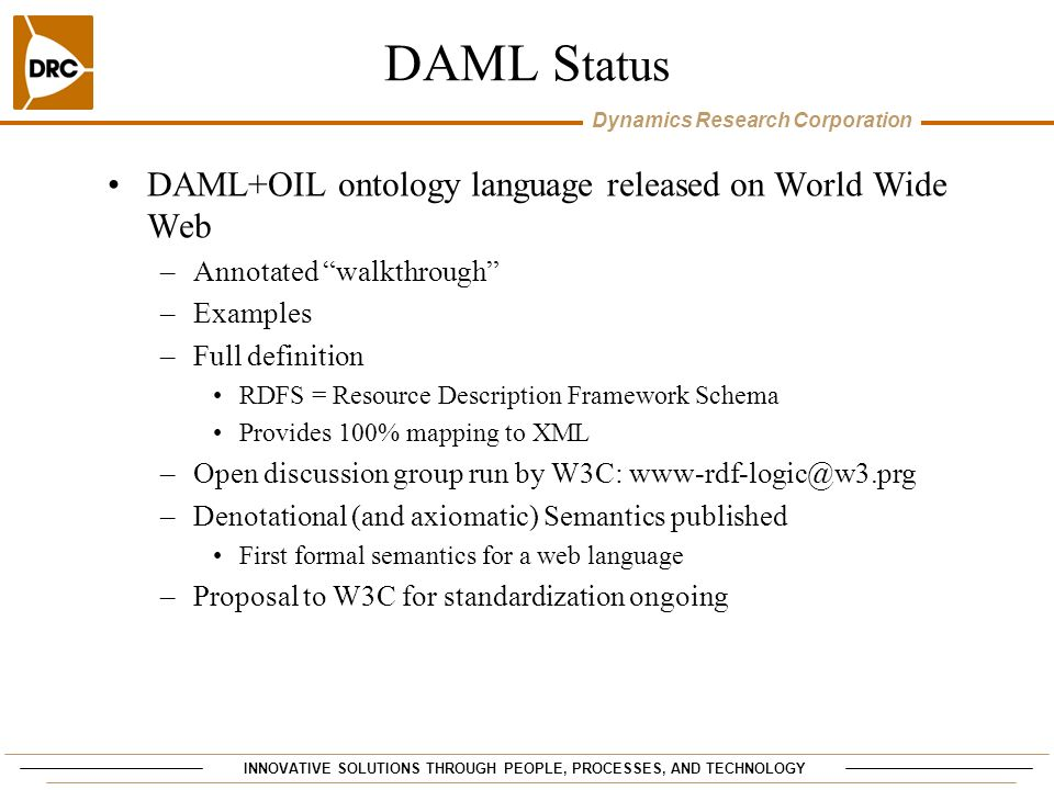DAML Status DAML+OIL ontology language released on World Wide Web
