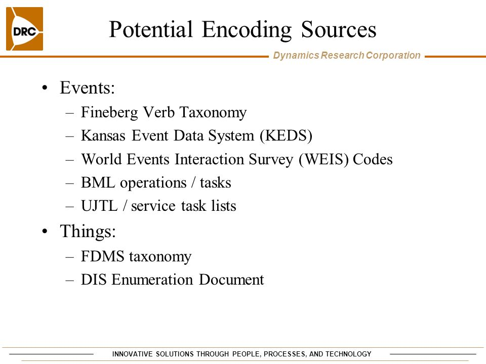 Potential Encoding Sources