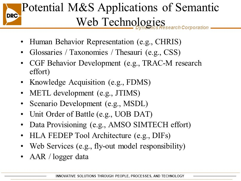 Potential M&S Applications of Semantic Web Technologies