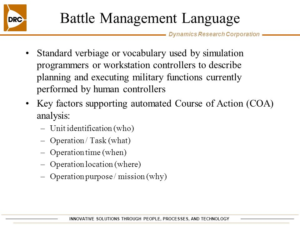 Battle Management Language