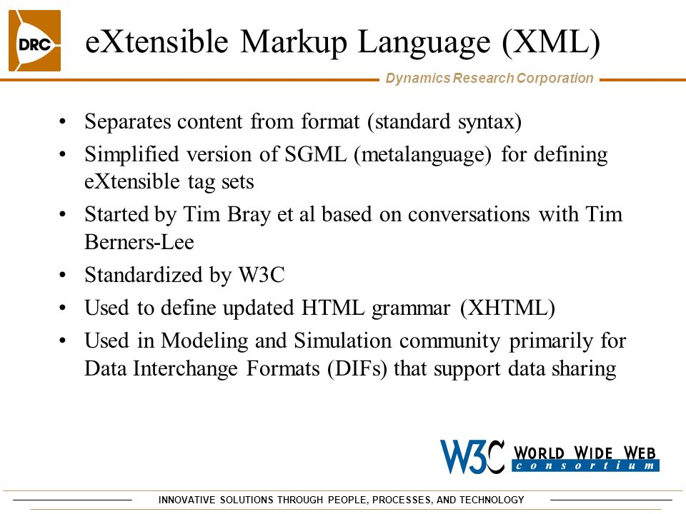 eXtensible Markup Language (XML)