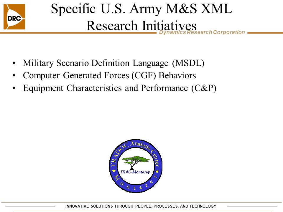 Specific U.S. Army M&S XML Research Initiatives