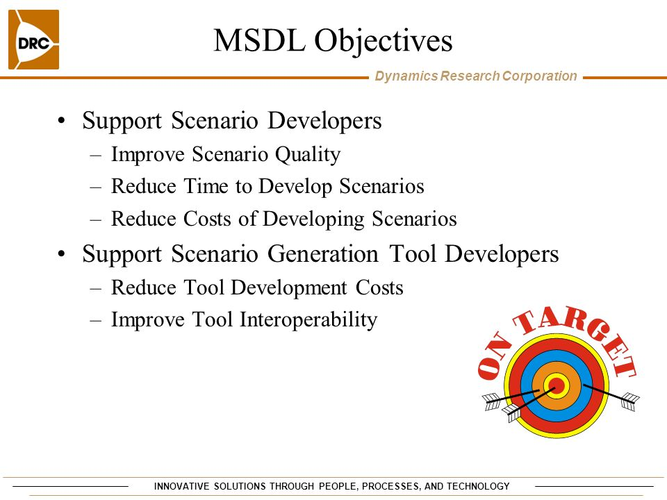 MSDL Objectives Support Scenario Developers