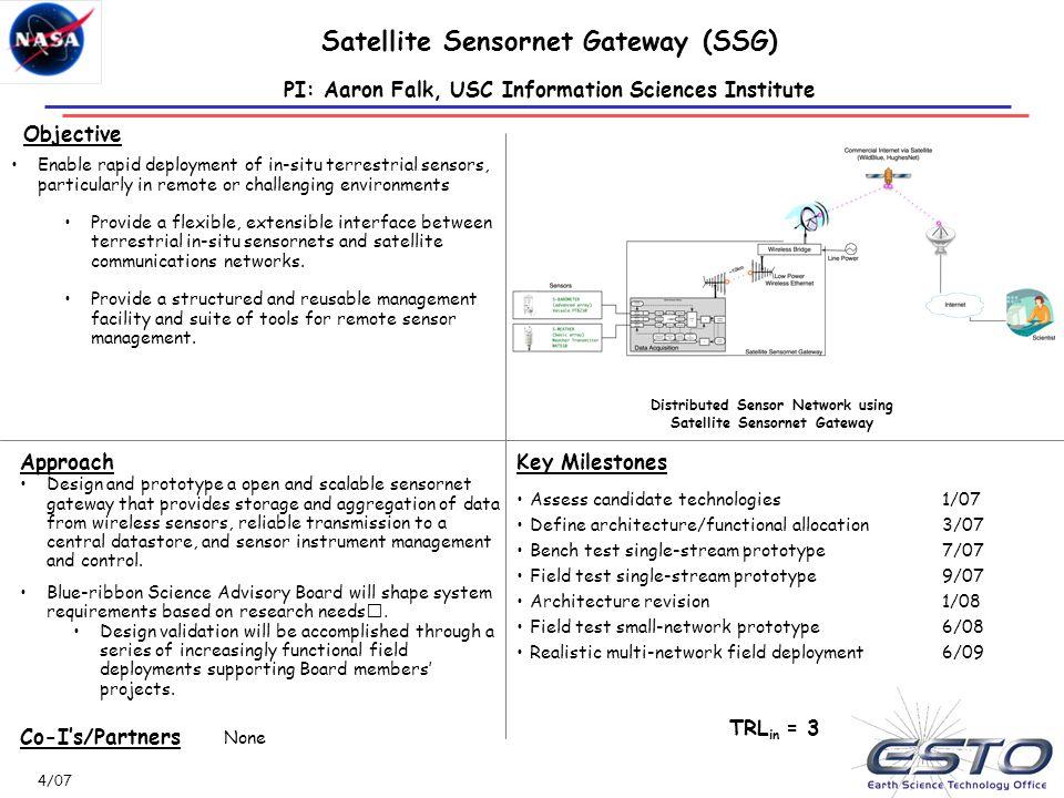 Satellite Sensornet Gateway (SSG)