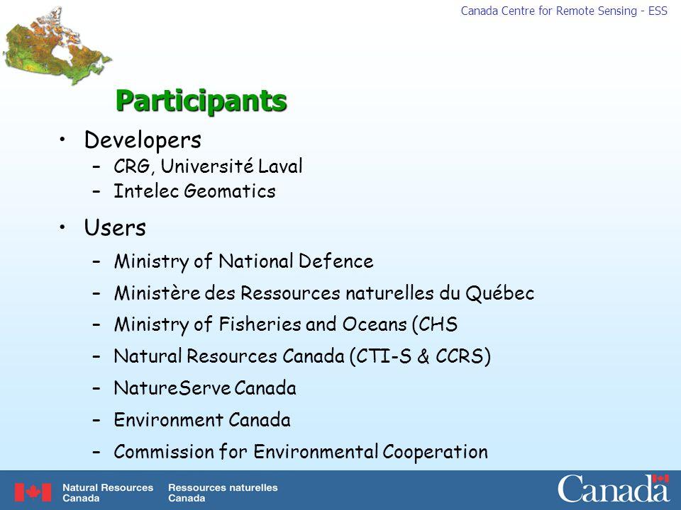 Participants Developers Users CRG, Université Laval Intelec Geomatics