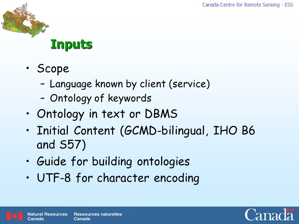 Inputs Scope Ontology in text or DBMS