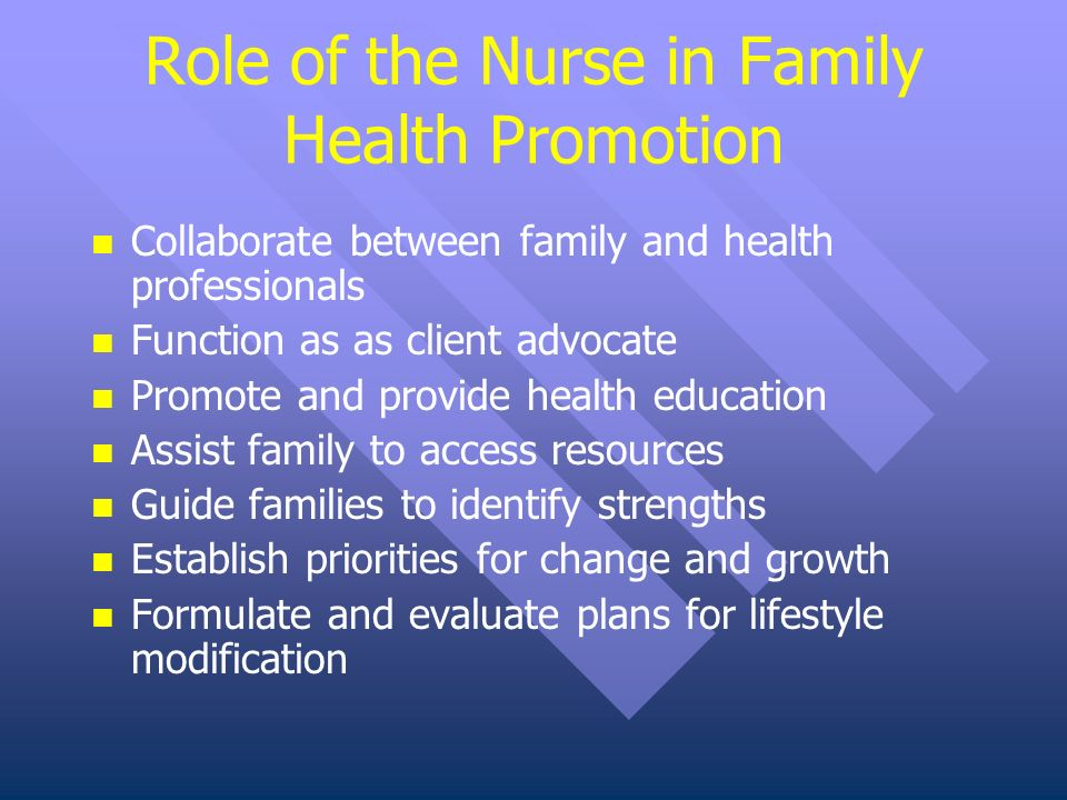 the role of the family nurse Family nurse practitioner's role in primary care article highlights the role of nurse practitioner has evolved alongside that of the physician, with expanding opportunities in specialty medicine being the dominant trend affecting health professions.