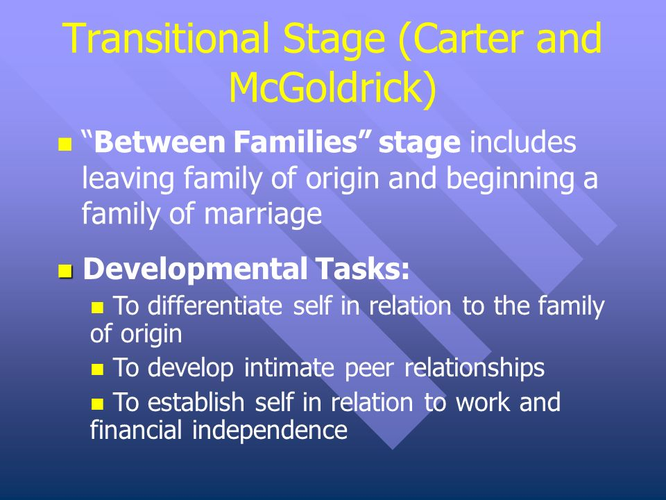 development task of family cycle by carter and mcgoldrick Family life cycle edit visualeditor  this model is based on that of betty carter & monica goldrick  the major stages of family life edit stage 1: family of.