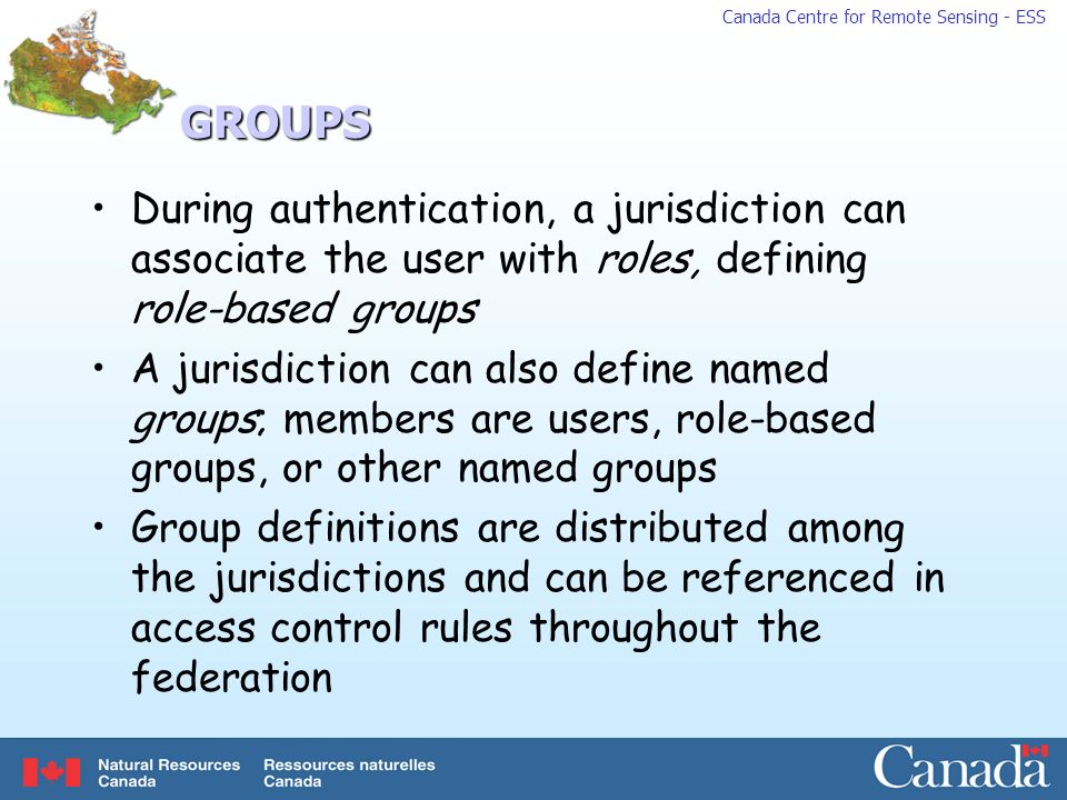 GROUPS During authentication, a jurisdiction can associate the user with roles, defining role-based groups.