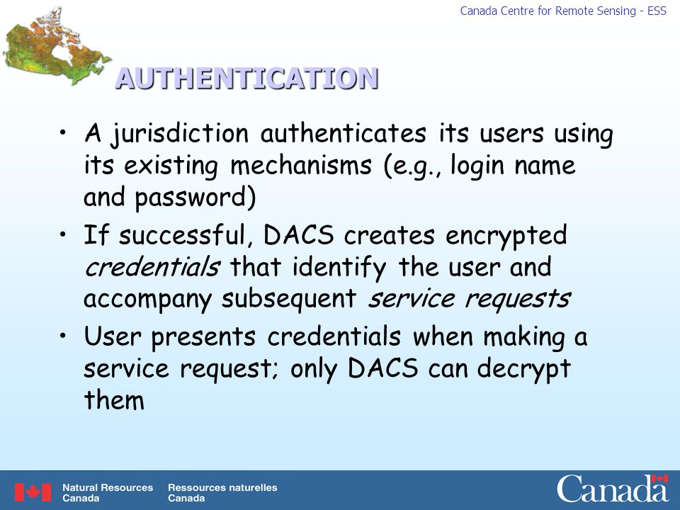 AUTHENTICATION A jurisdiction authenticates its users using its existing mechanisms (e.g., login name and password)
