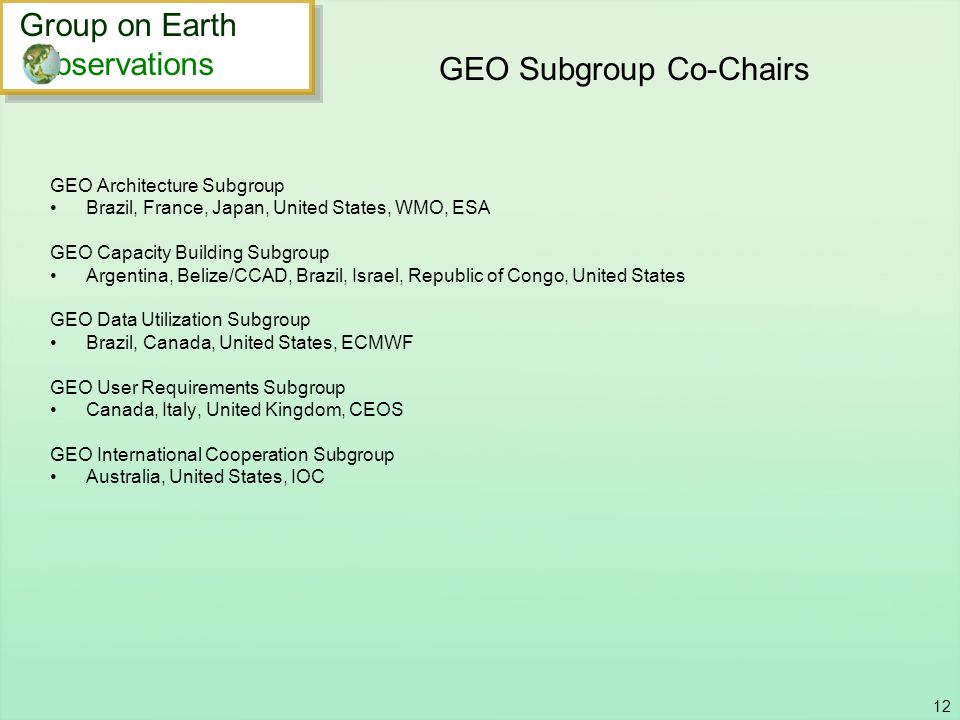 GEO Subgroup Co-Chairs