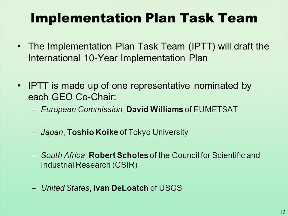 Implementation Plan Task Team