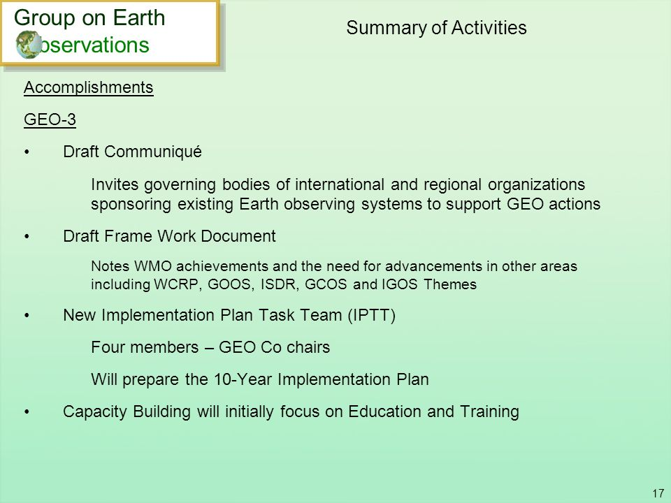 Summary of Activities Group on Earth bservations Accomplishments GEO-3