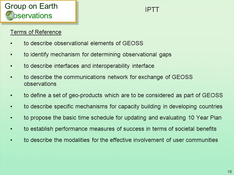 IPTT Group on Earth bservations Terms of Reference