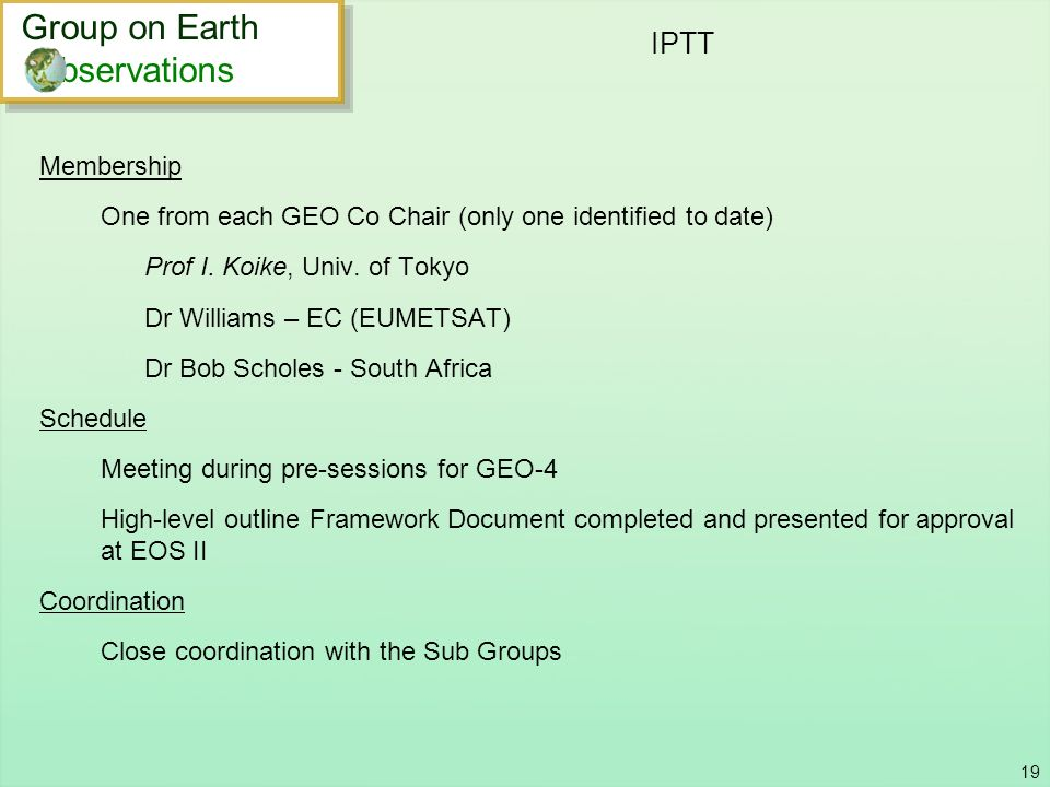 IPTT Group on Earth bservations Membership