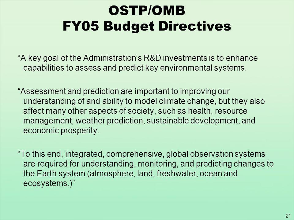 OSTP/OMB FY05 Budget Directives