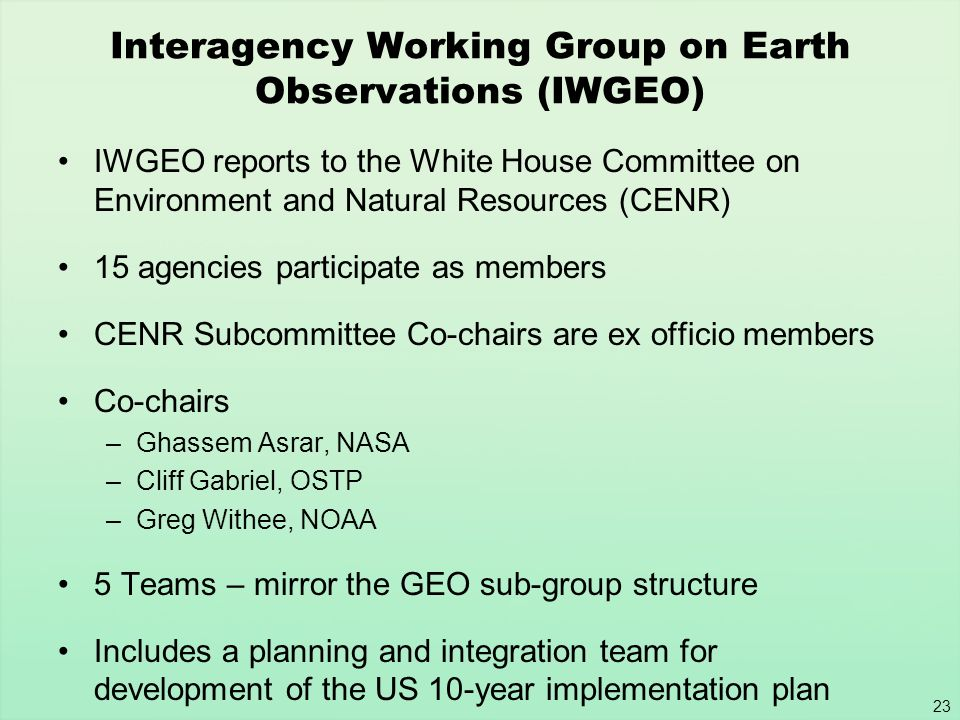 Interagency Working Group on Earth Observations (IWGEO)