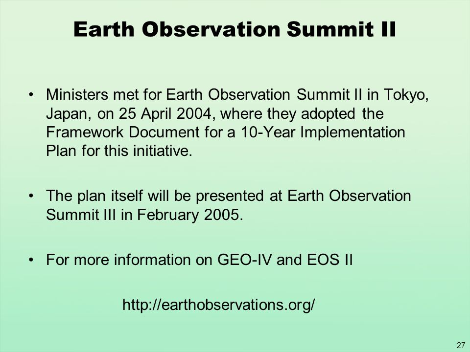 Earth Observation Summit II