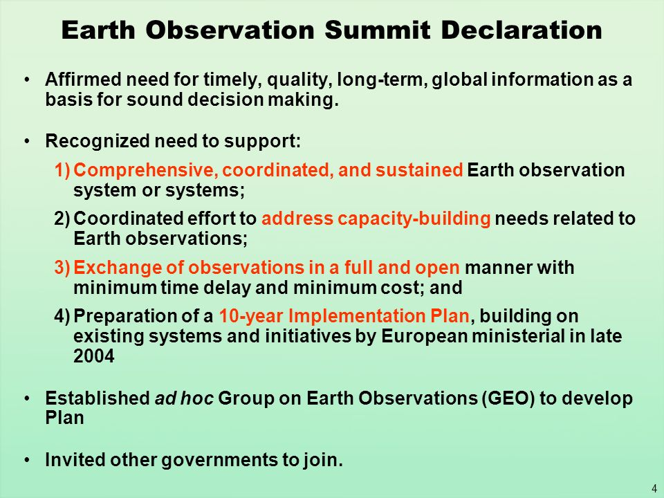 Earth Observation Summit Declaration