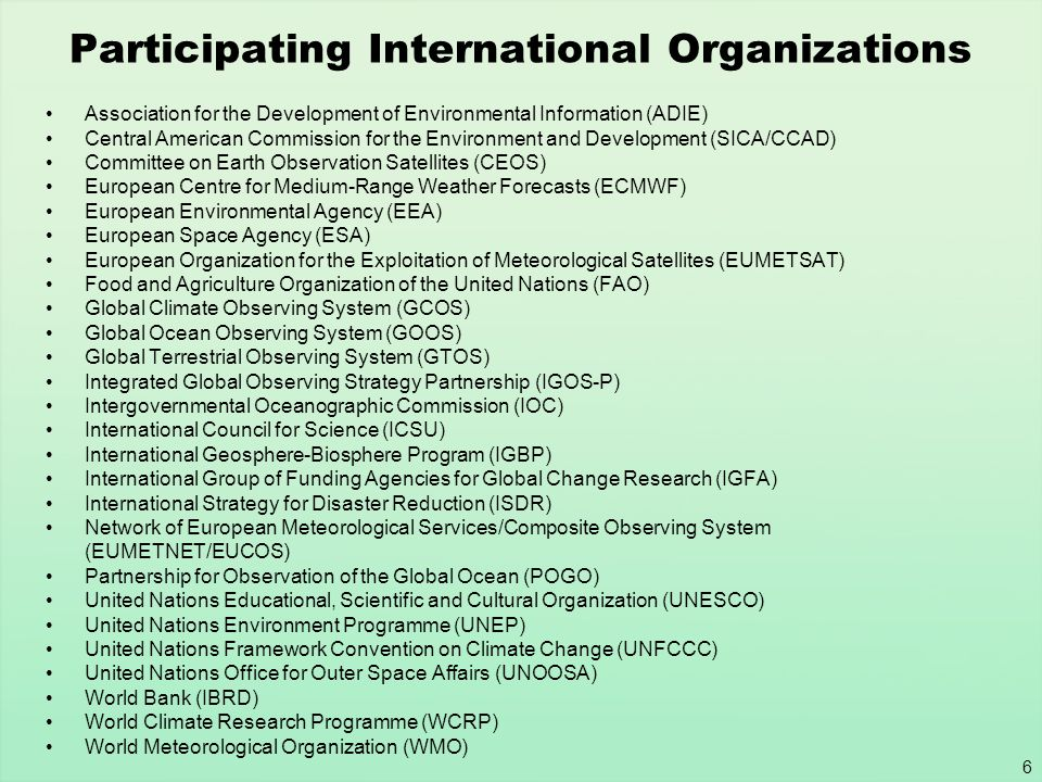 Participating International Organizations