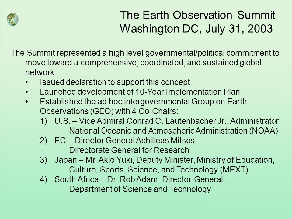 The Earth Observation Summit Washington DC, July 31, 2003