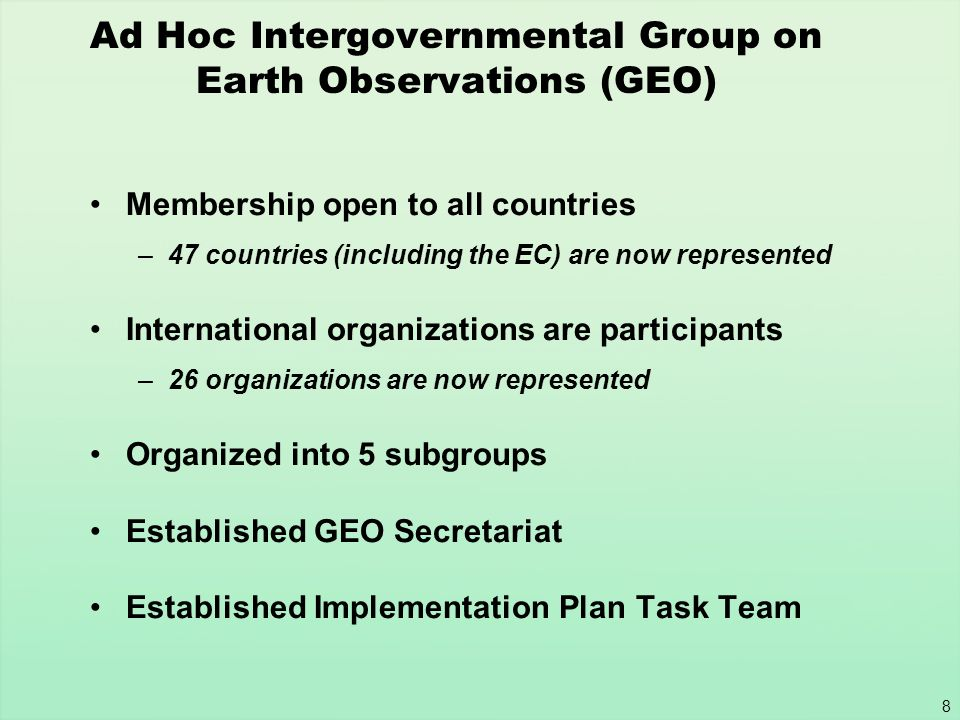 Ad Hoc Intergovernmental Group on Earth Observations (GEO)