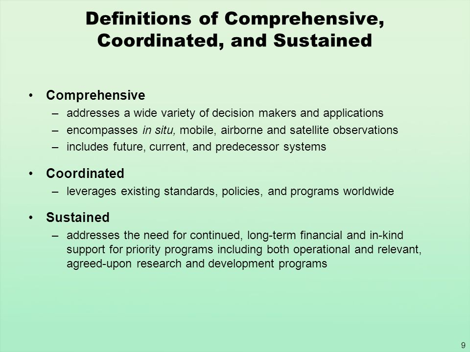 Definitions of Comprehensive, Coordinated, and Sustained