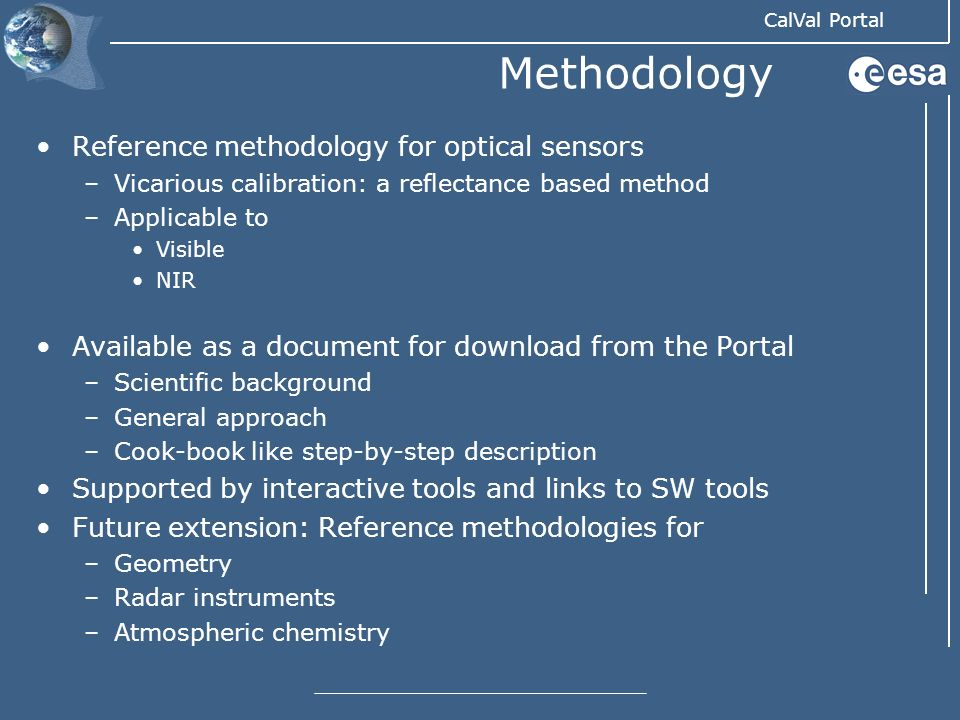 Methodology Reference methodology for optical sensors