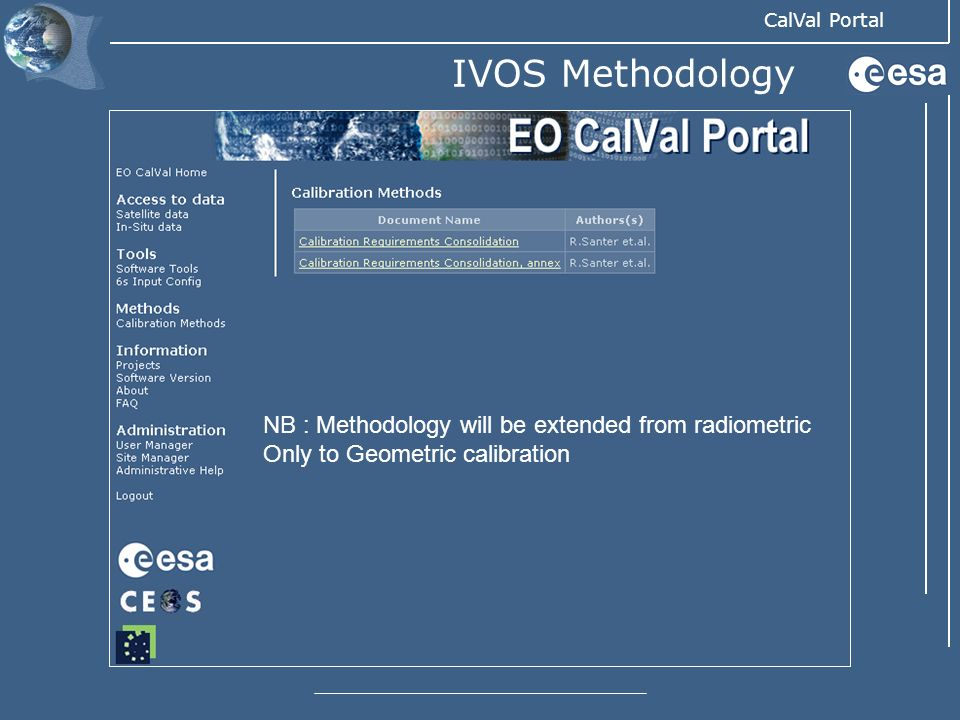 IVOS Methodology NB : Methodology will be extended from radiometric