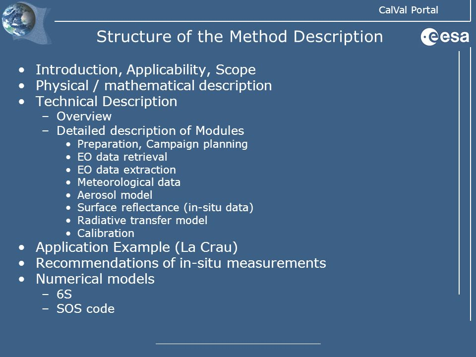 Structure of the Method Description