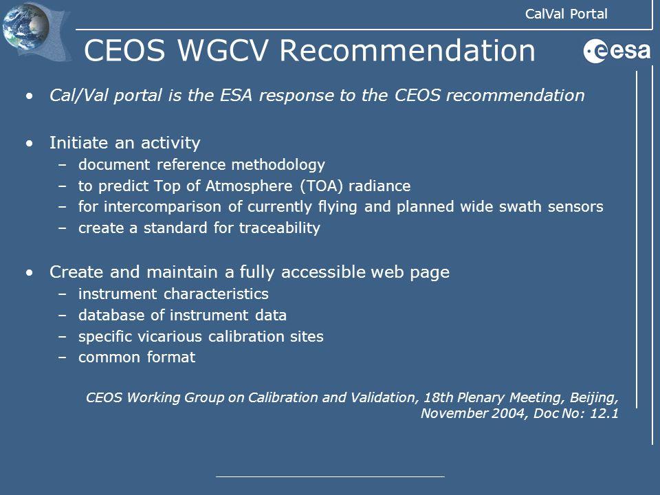 CEOS WGCV Recommendation