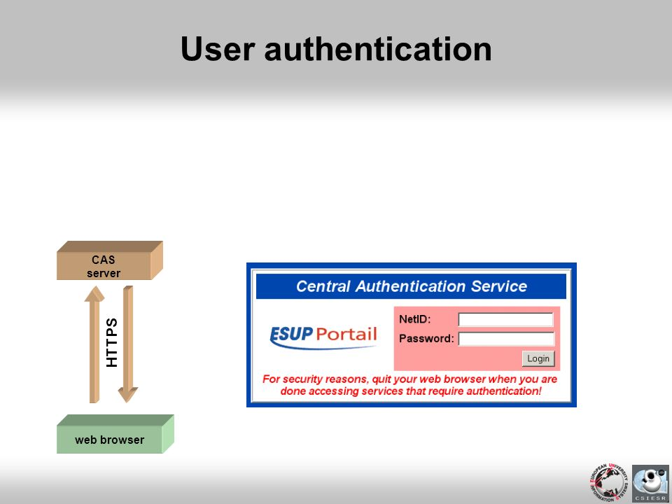 User authentication CAS server HTTPS web browser