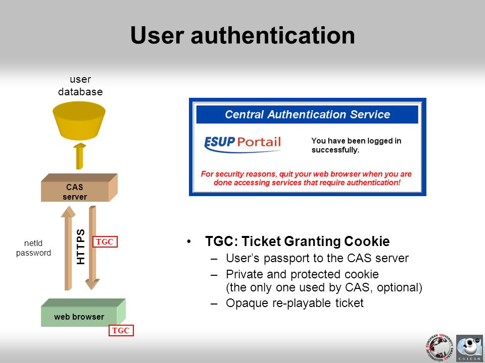 User authentication TGC: Ticket Granting Cookie