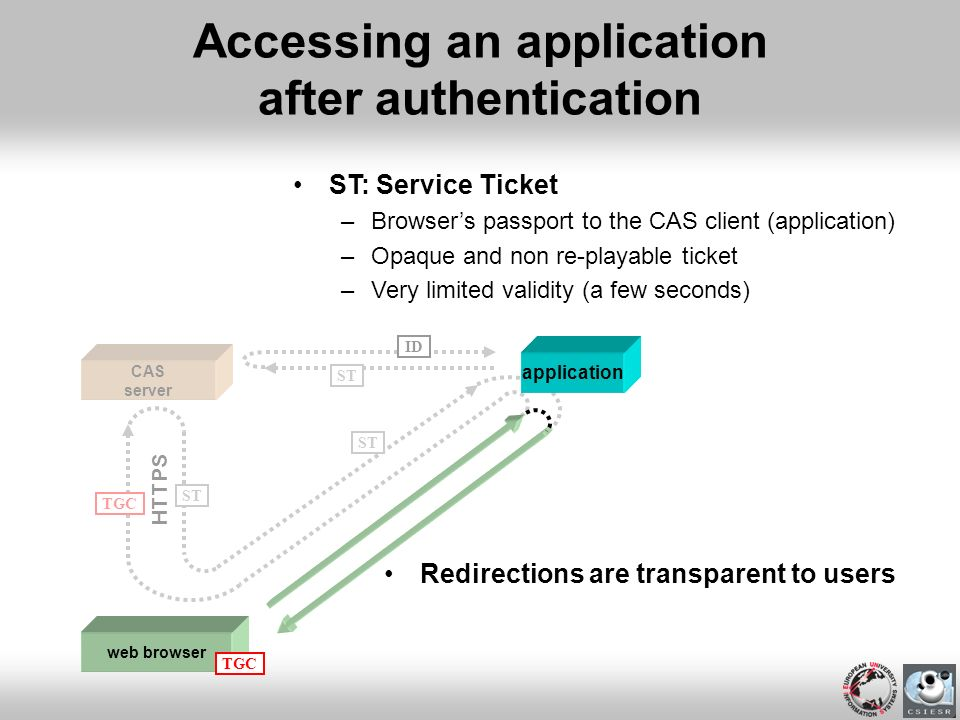Accessing an application after authentication
