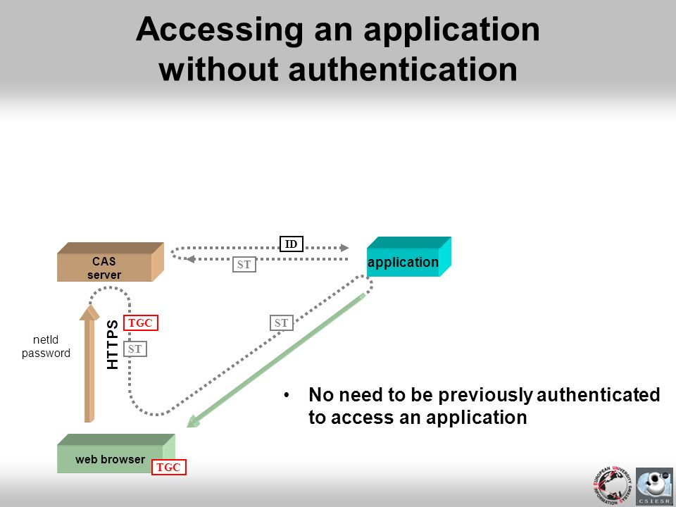 Accessing an application without authentication