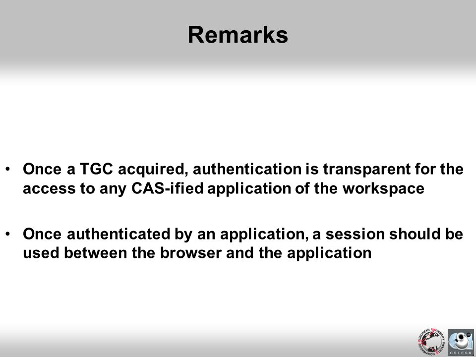 Remarks Once a TGC acquired, authentication is transparent for the access to any CAS-ified application of the workspace.