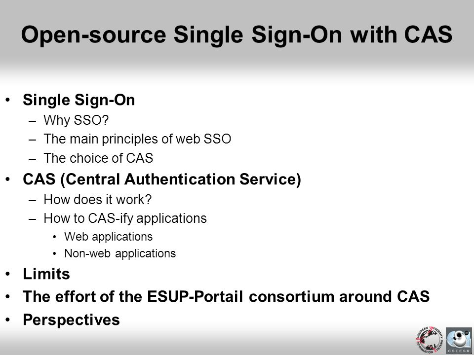 Open-source Single Sign-On with CAS