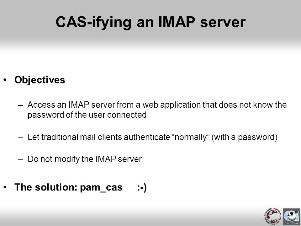 CAS-ifying an IMAP server