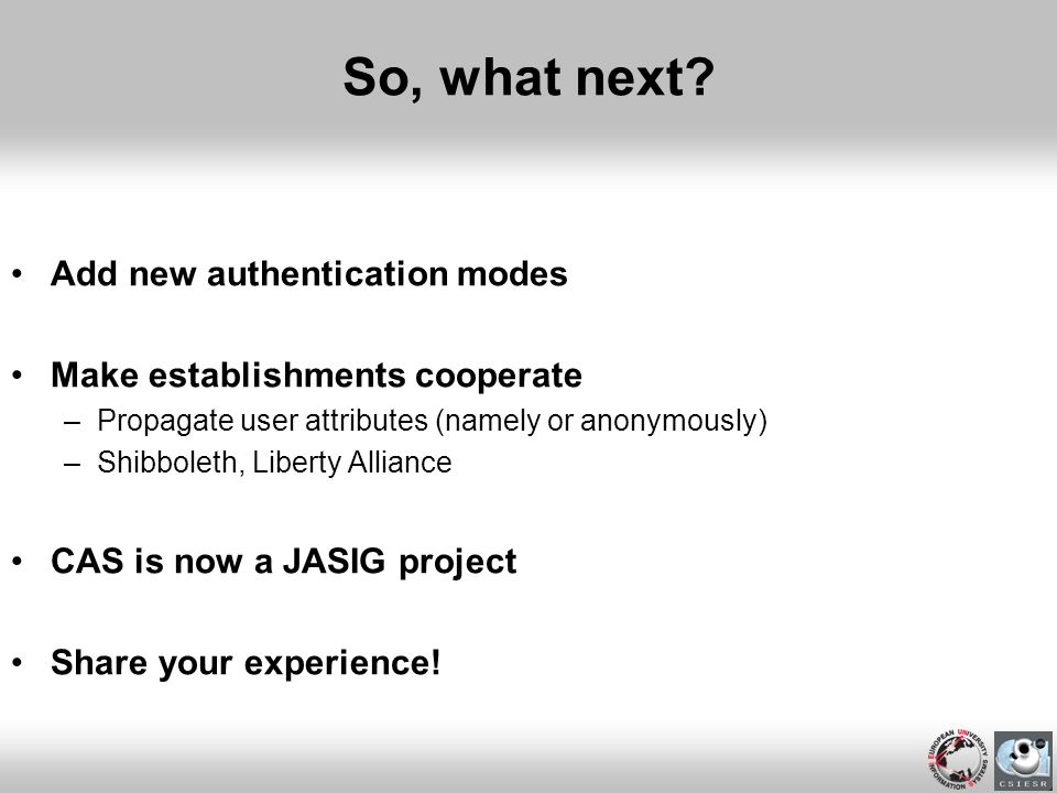 So, what next Add new authentication modes