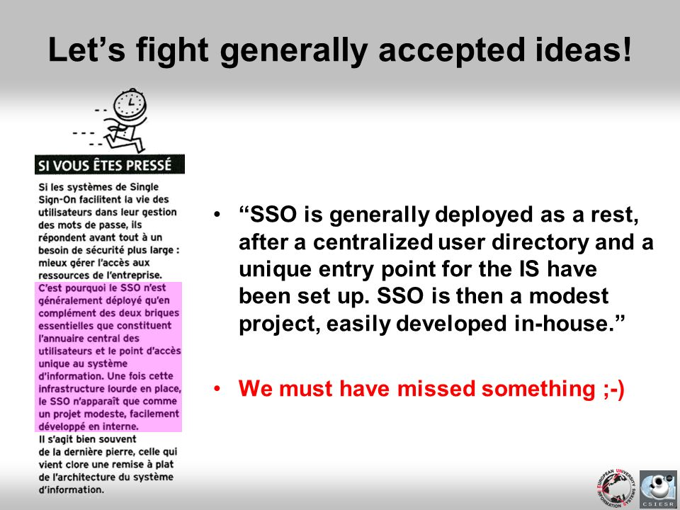 Let's fight generally accepted ideas!