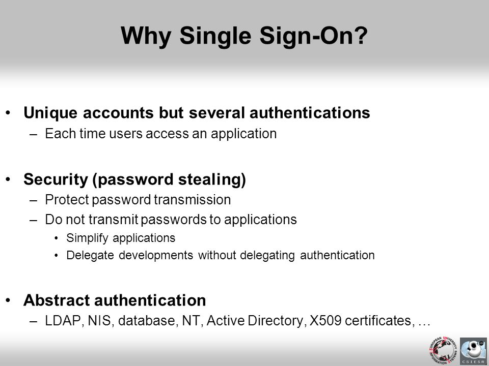Why Single Sign-On Unique accounts but several authentications