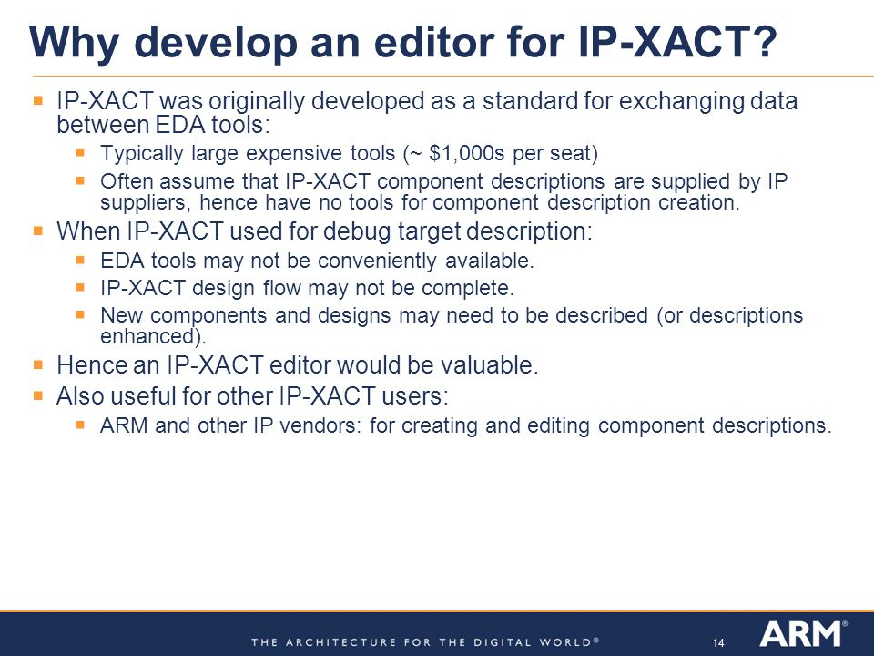 Why develop an editor for IP-XACT