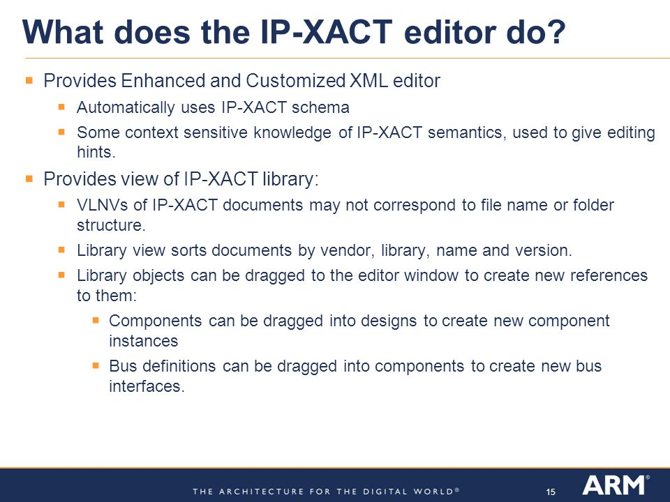 What does the IP-XACT editor do