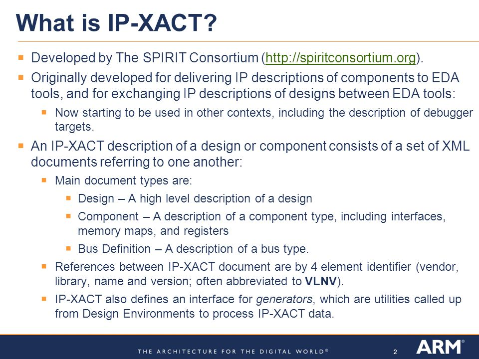 What is IP-XACT Developed by The SPIRIT Consortium (