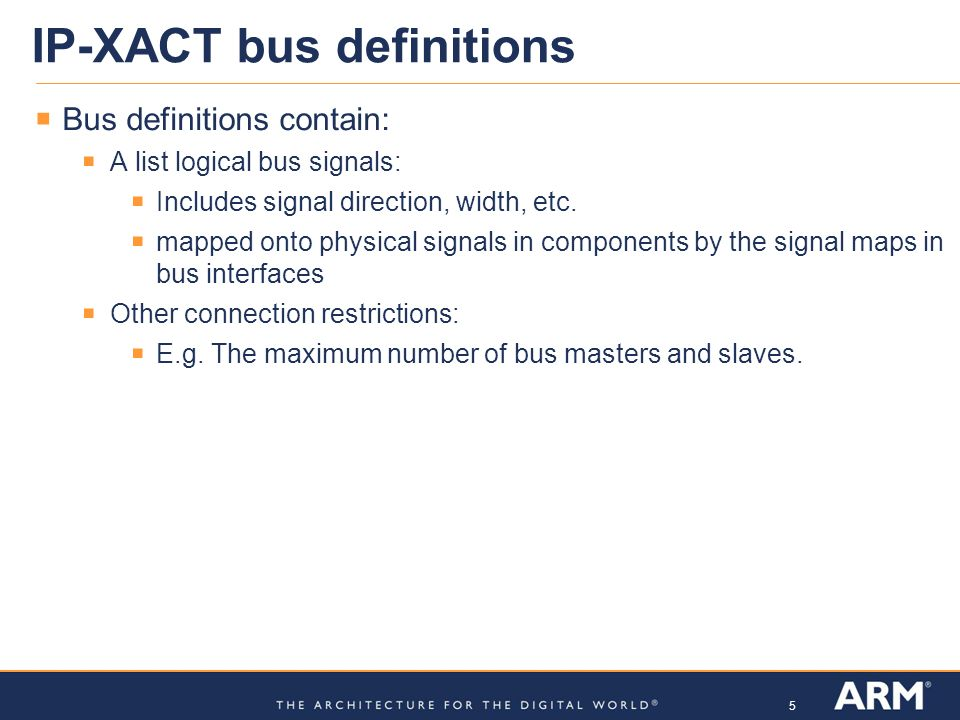IP-XACT bus definitions