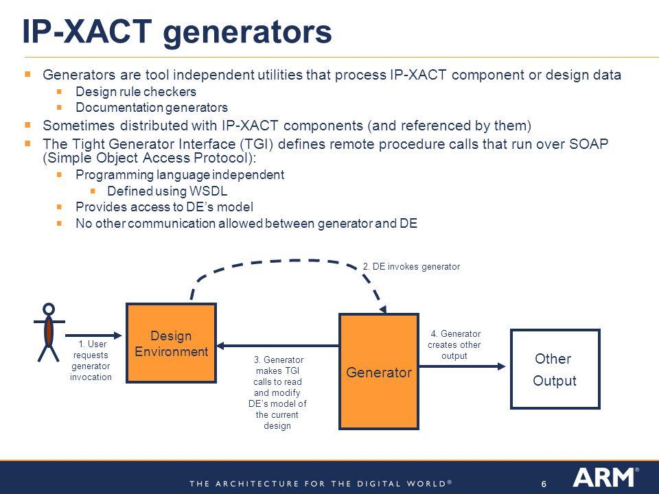IP-XACT generators Generators are tool independent utilities that process IP-XACT component or design data.