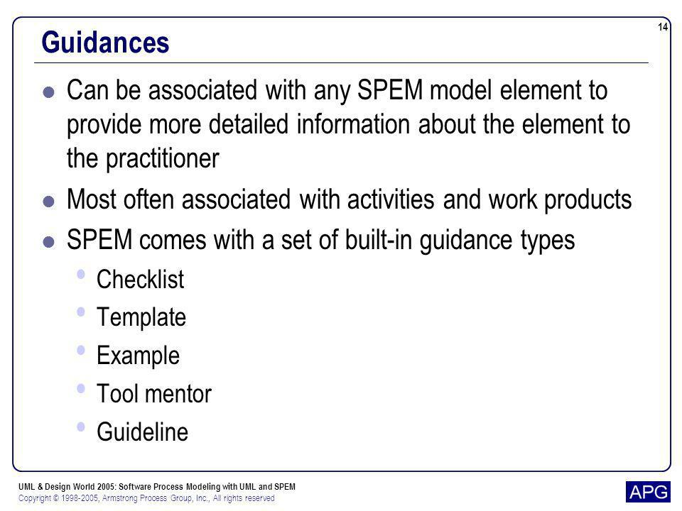 Guidances Can be associated with any SPEM model element to provide more detailed information about the element to the practitioner.